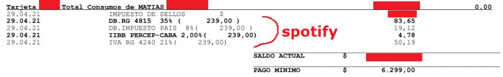 Captura de pantalla de la parte de los impuestos en un resumen de tarjeta de crédito visa.