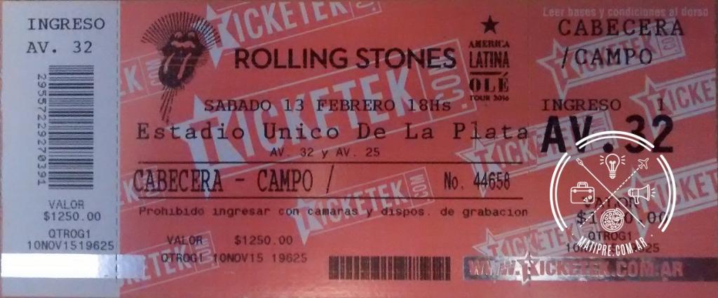 Foto del ticket de ingreso al recital de los Rolling Stones